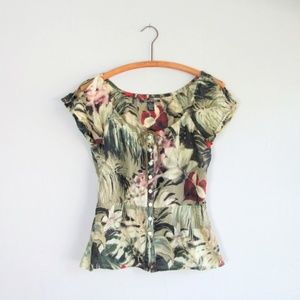 Vntg Lucky Brand tropical blouse